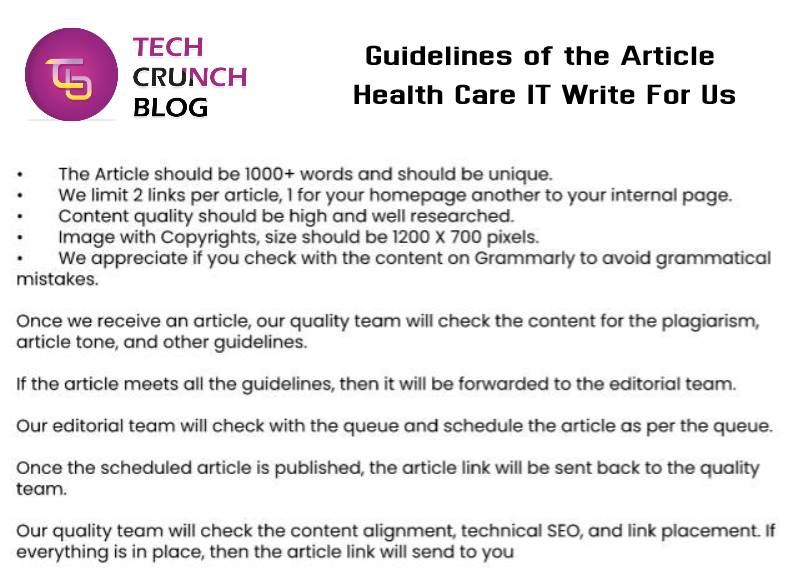 Guidelines Health Care IT Write for us