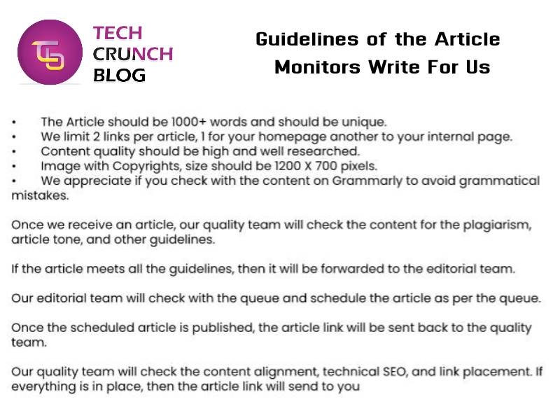 Guidelines Monitors write for us