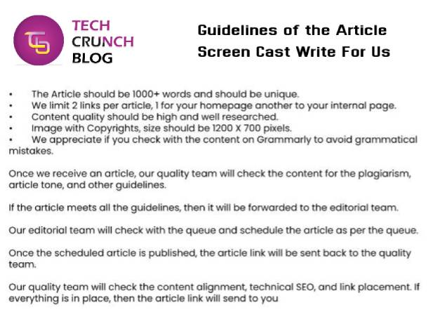 Guidelines Scree Cast Write for Us